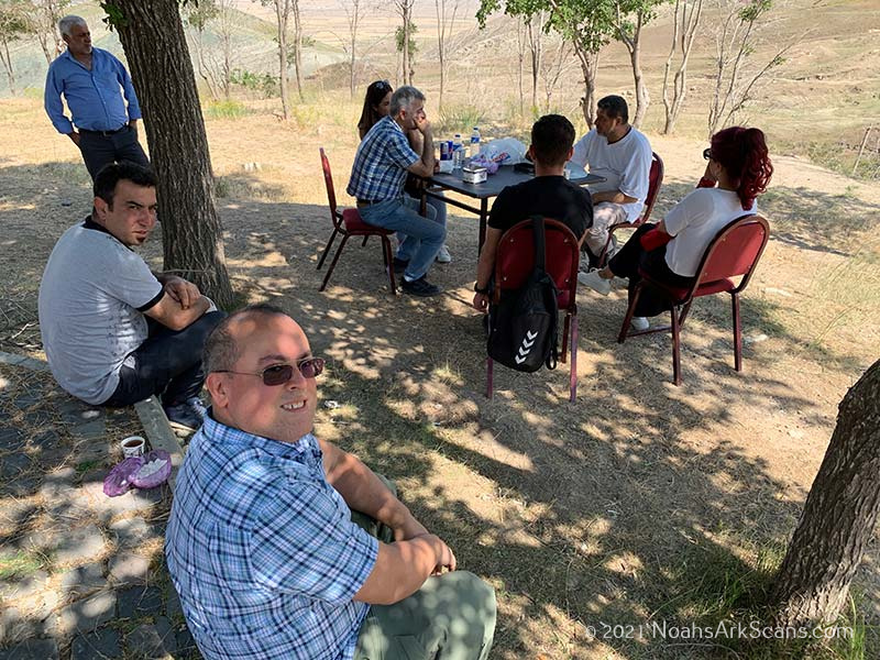 Two Turkish archaeologists, one Turkish professor of geology and geophysics and Ministry of Culture and Tourism officials meeting Zafer Onay and Andrew Jones at the Noah's ark site in the summer of 2020 to plan the geophysical survey work.