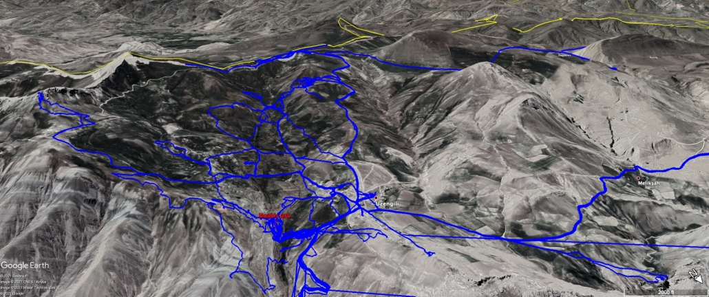 GPS tracks showing all our exploration around and above the Noah's ark site up to July 31, 2021.