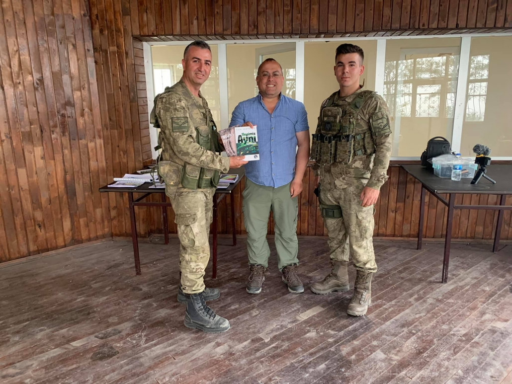 """I am standing next to the border base commander (on the left). I had met this commander by """"chance"""" a month earlier when a top military commander from Ankara came to see the ark site."""