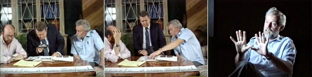 Video stills of Ron Wyatt and Dr. Bill Shea talking the border inscriptions.